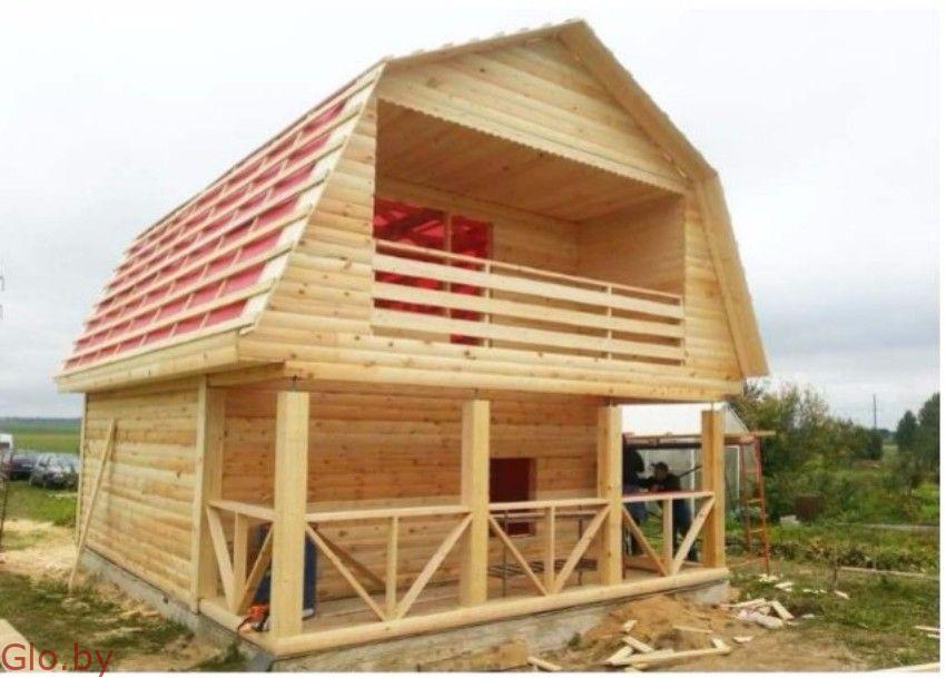 Сруб дома из бруса для дачи проект Ян 6х7.5м