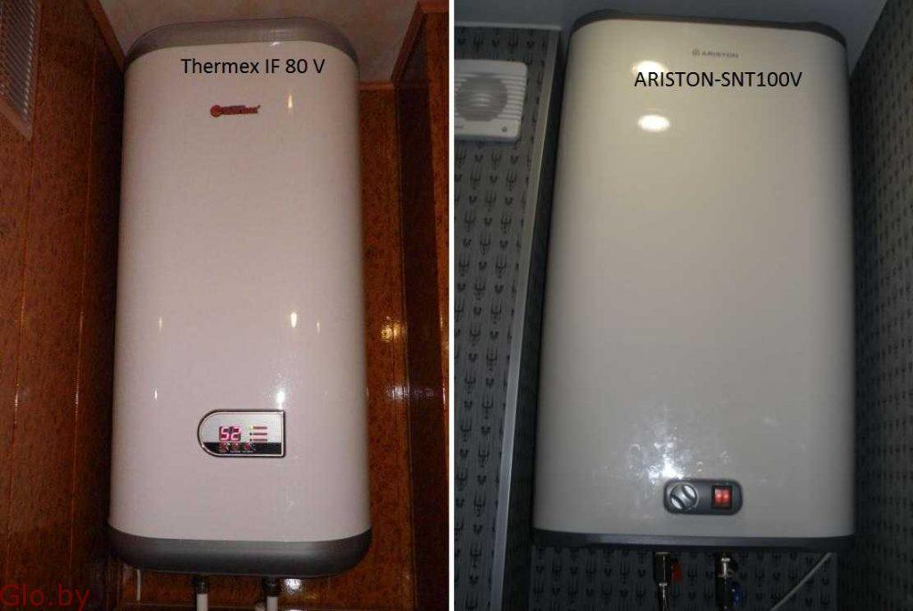 Установка проточного или накопительного водонагревателя.