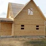 Дом сруб из бруса Михаил 6 × 8 , установка в Воложине